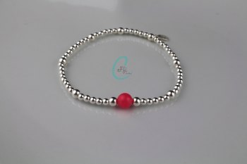 Silver and Coral Bracelet