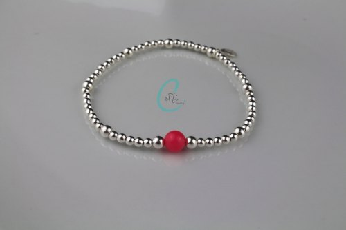 Sterling silver and Coral stretch bracelet | Silver and Coral Bracelet