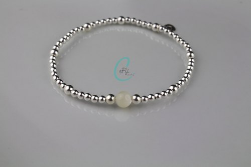 Sterling silver and Mother of Pearl stretch bracelet