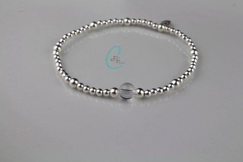 Sterling silver and Rock Crystal stretch bracelet