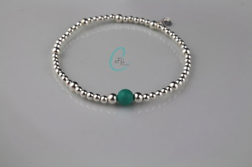 Sterling silver and Turquoise stretch bracelet