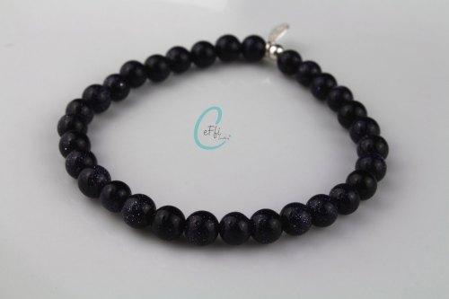 Blue goldstone chunky stretch bracelet | Chunky Blue Goldstone Bracelet
