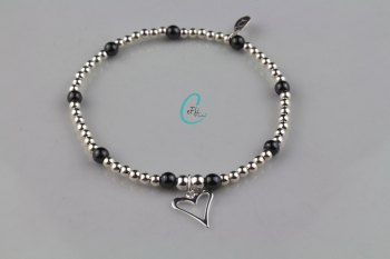 Silver and Hematite Bracelet