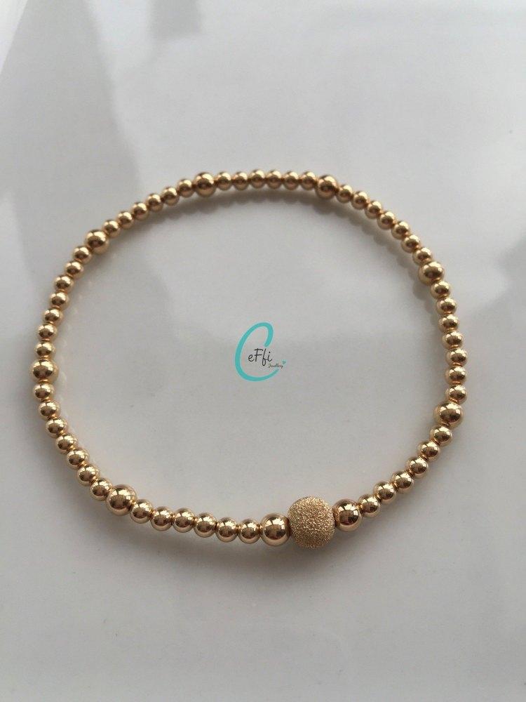 Gold stretch bracelet | Gold Ball Bracelet | CeFfi Jewellery