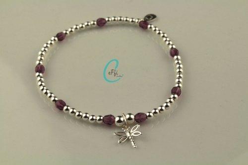 Silver and amethyst stretch bracelet | Amethyst | CeFfi Jewellery