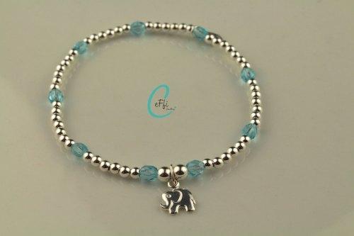 Sterling silver aqua stretch bracelet | Aqua | CeFfi Jewellery
