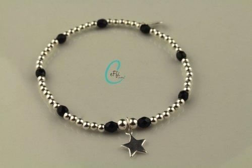 Black and sterling silver stretch bracelet | Black | CeFfi