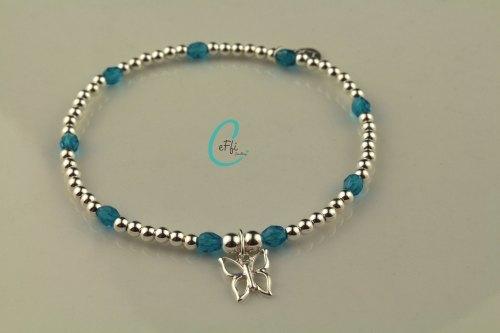 Dark Aqua and Sterling silver stretch bracelet | Dark Aqua | CeFfi