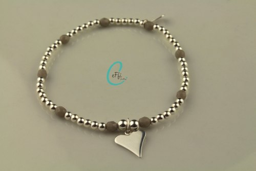 Silver and grey stretch bracelet   Grey   CeFfi