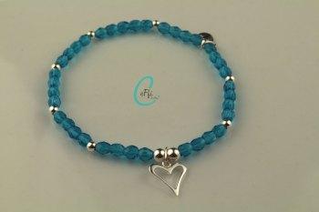 Dark Aqua and Silver Bracelet