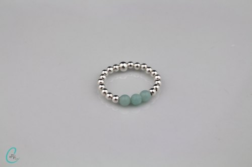 Amazonite and silver stretch ring | Amazonite Colour Pop | CeFfi