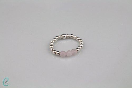 Silver and rose quartz stretch ring   Rose Quartz Colour Pop   CeFfi