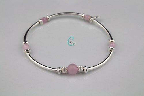 Silver and rose quartz noodle stretch bracelet | CeFfi
