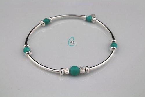 Turquoise and silver noodle stretch bracelet | Colour Pop Noodle | CeFfi