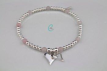 Pink Rose Heart Bracelet