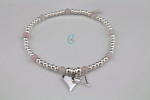 Silver and rose quartz bracelet | Pink Rose | CeFfi
