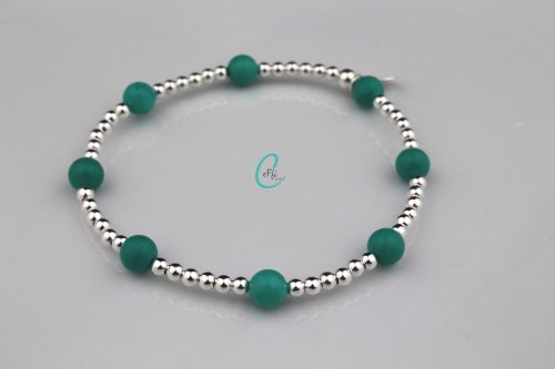 Turquoise and silver stretch bracelet   CeFfi