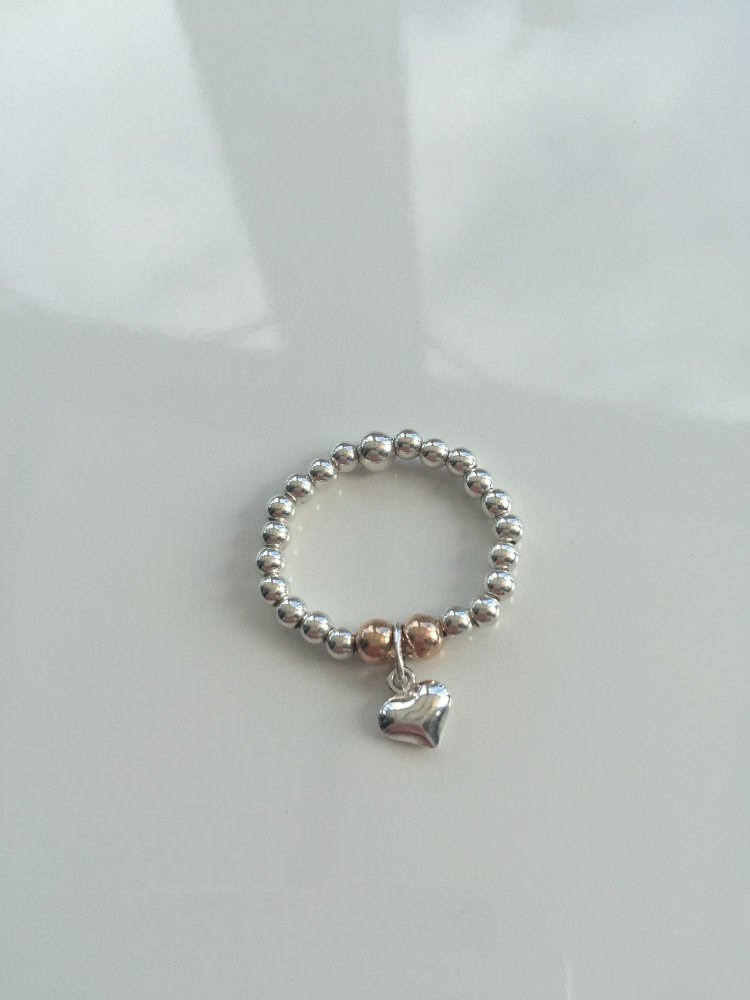 Silver and rose gold heart stretch ring   CeFfi