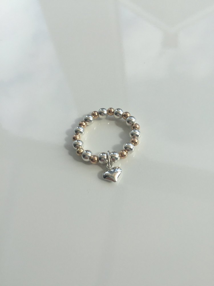 Rose gold and silver stretch ring   CeFfi