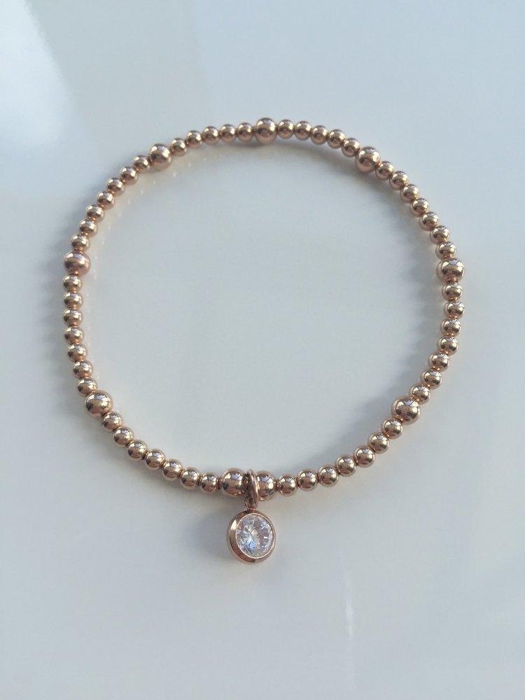 Rose gold cz stretch bracelet | CeFfi