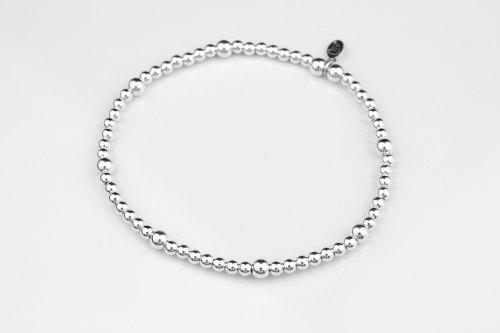 Plain sterling silver ball stretch bracelet   CeFfi