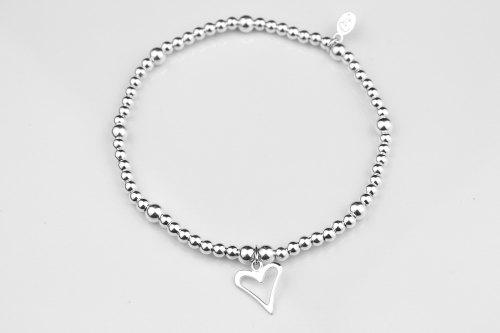 Heart ball beaded stretch bracelet   CeFfi