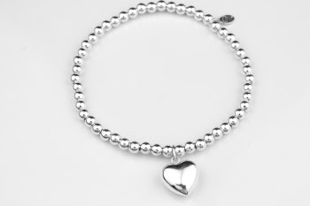 Simple Ball Bracelet - Puff Heart