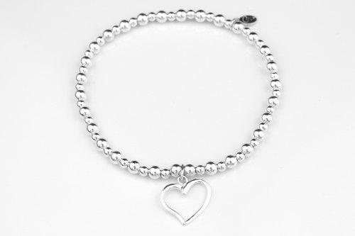 Silver open heart stretch bracelet   CeFfi