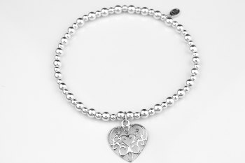 Bobble Bracelet - Filigree Heart