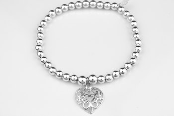 Simple Chunky Bracelet - Filigree Heart