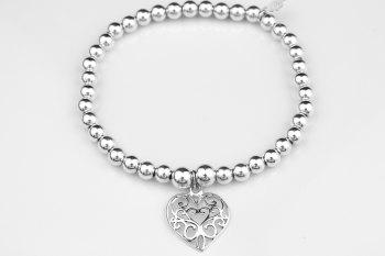 Simple Chunky Bracelet - Filigree Heart