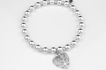 Chunky Bobble Bracelet - Filigree Heart