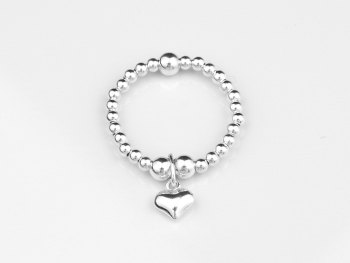 Dainty Charm Ring - Puff Heart