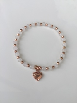 White Rose Bobble Bracelet