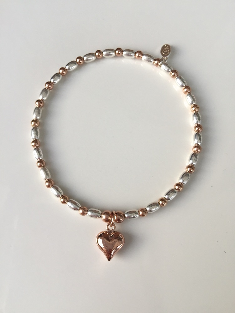 Sterling silver stretch bracelet with rose gold | CeFfi