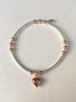 Touch of Rose Heart Noodle Bracelet