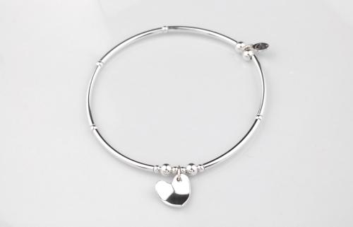 Sterling silver curved heart bracelet | CeFfi