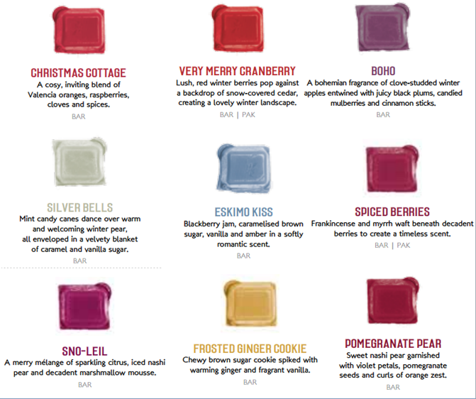 autumn winter christmas scentsy bar fragrances