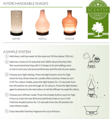scentsy oil diffuser how to use