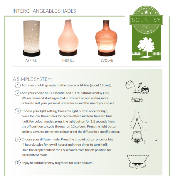 interchangable scentsy diffuser shades