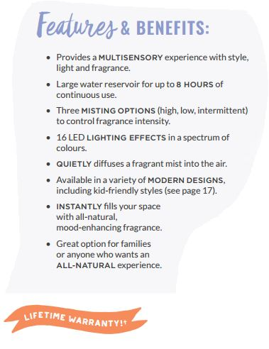 scentsy diffuser features and benefits