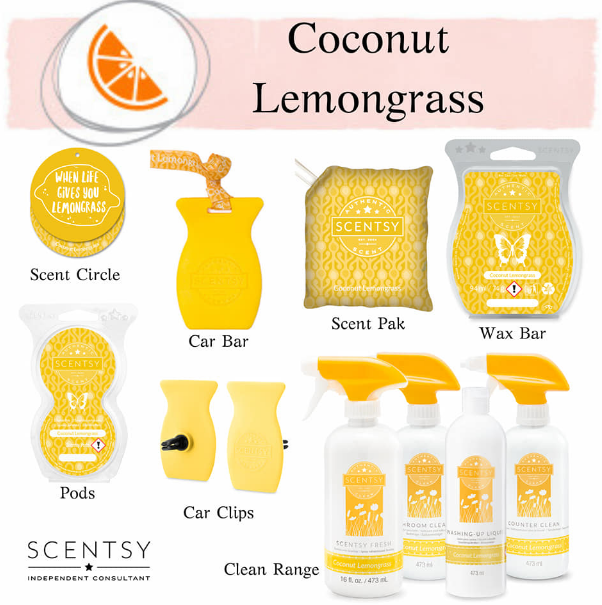 coconut lemongrass scentsy wick free scented candles