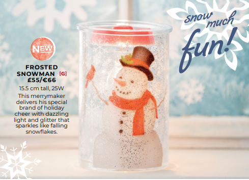 FROSTED SNOWMAN SCENTSY WARMER WICK FREE SCENTED CANDLES