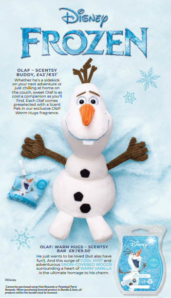 olaf scentsy buddy wick free scented candles disney collection