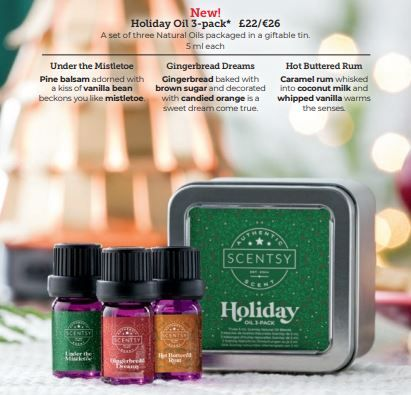 scentsy chirstmas oil pack wick free scented candles
