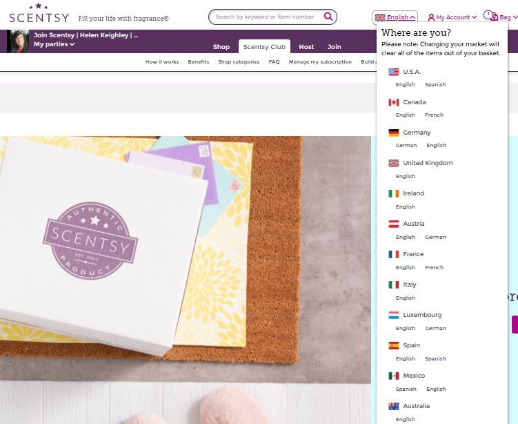 scentsy country requirements