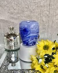 Blue Watercolor Mini Scentsy Warmer with Tabletop Base