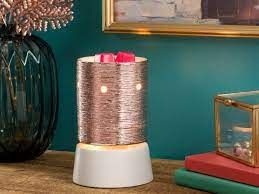Etched Core Rose Gold Scentsy Mini Warmer with Tabletop Base