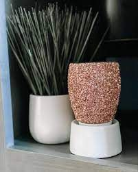 Glitter Rose Gold Scentsy Mini Warmer with Tabletop Base