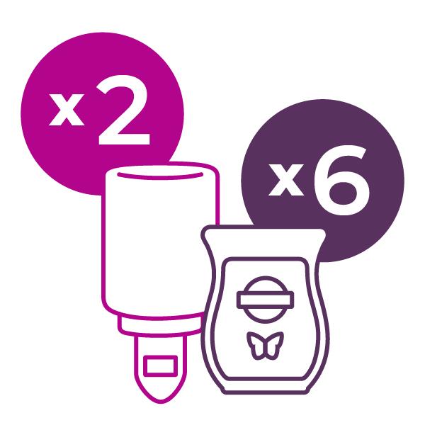 Scentsy bundle and save 2 mini warmers & 6 wax bars